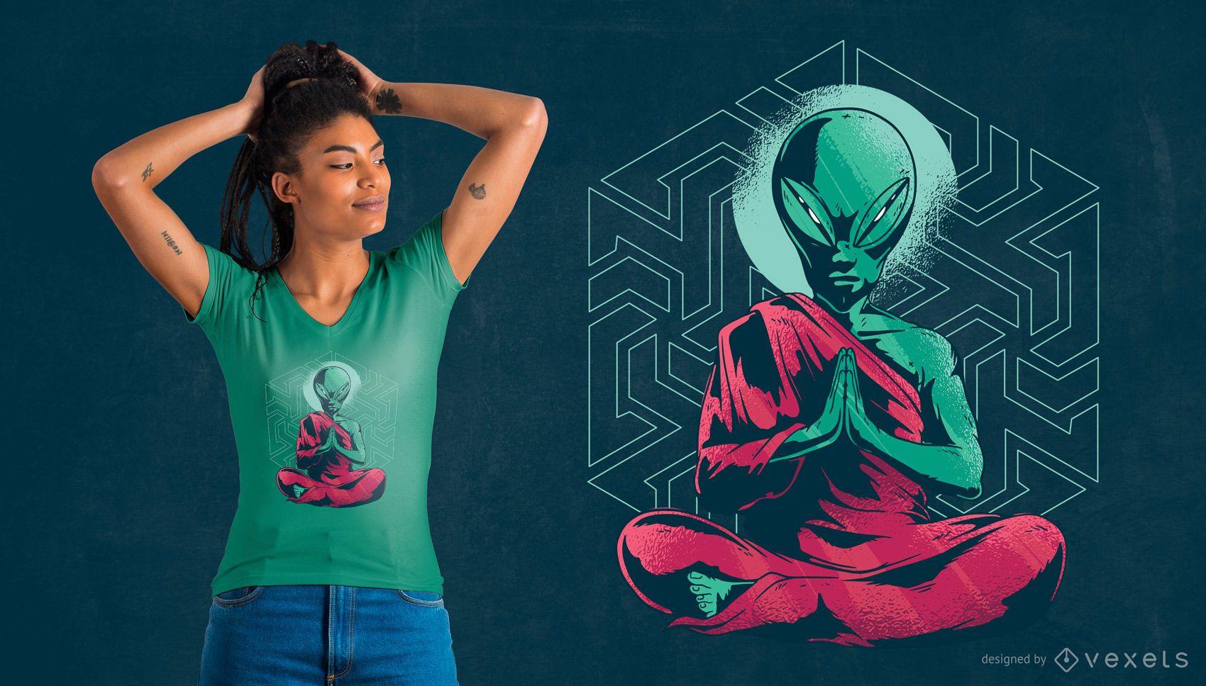Diseño de camiseta de meditación monje alienígena.