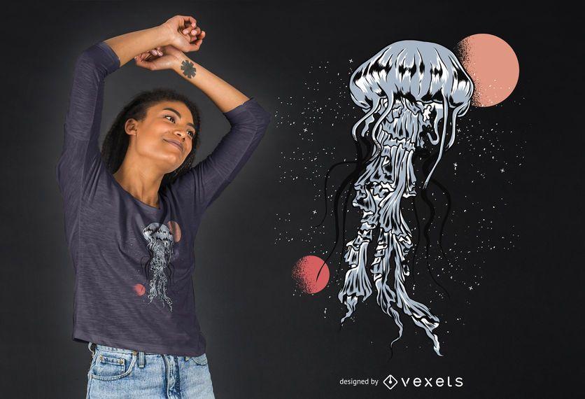 Projeto do t-shirt das medusa do espaço