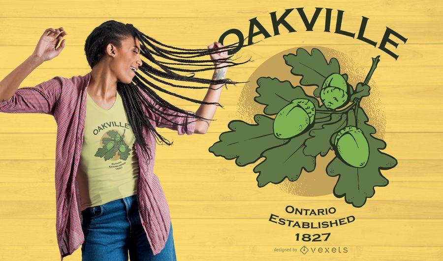 Design de t-shirt de folha de carvalho