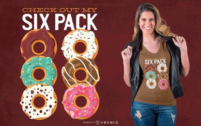 Diseño de camiseta donut six pack