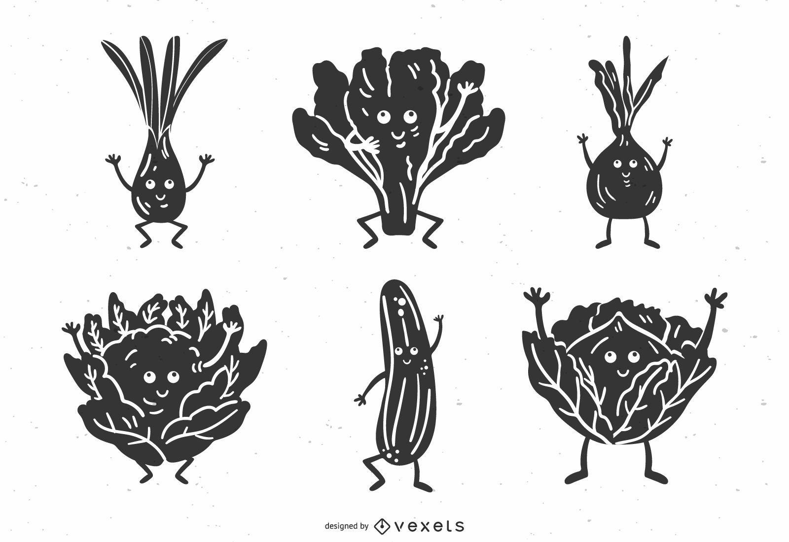 Detaillierte Gemüse Silhouette Pack