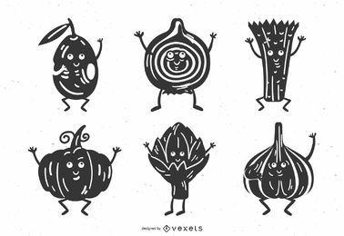 Pacote de design de silhueta de vegetais