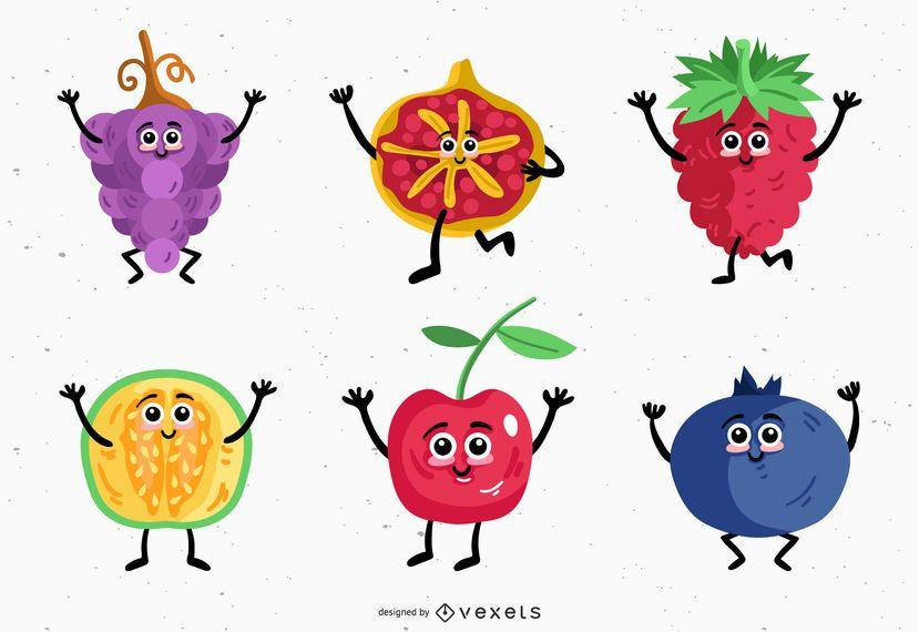 Diseño de vectores de caracteres de frutas