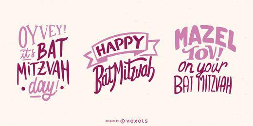 Colección de pancartas de letras Bat Mitzvah
