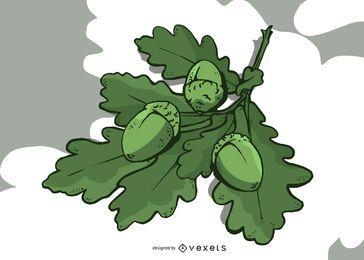 Diseño de ilustración de hojas de roble y bellota