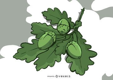 Folhas de carvalho e bolota ilustração Design