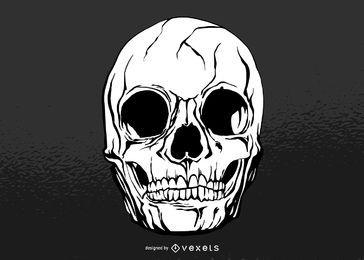 Diseño de ilustración de cráneo agrietado