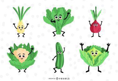 Conjunto de coleta de design de vegetais