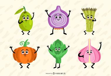 Colorful vegetables vector set