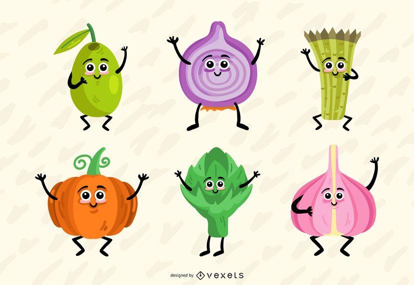 Colorful vegetables vector set