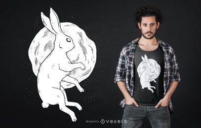Diseño de camiseta luna conejo