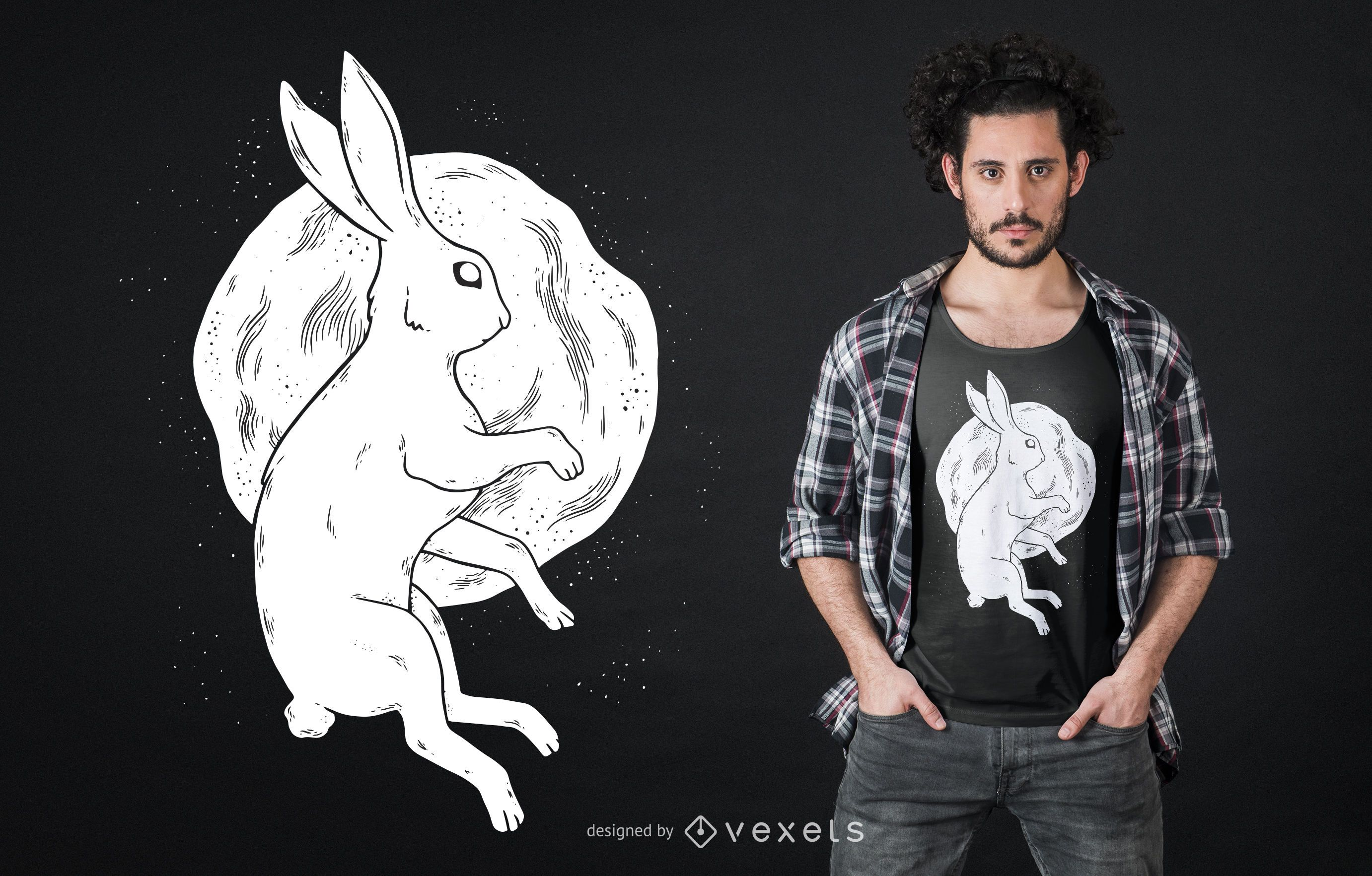 Dise?o de camiseta de conejo luna