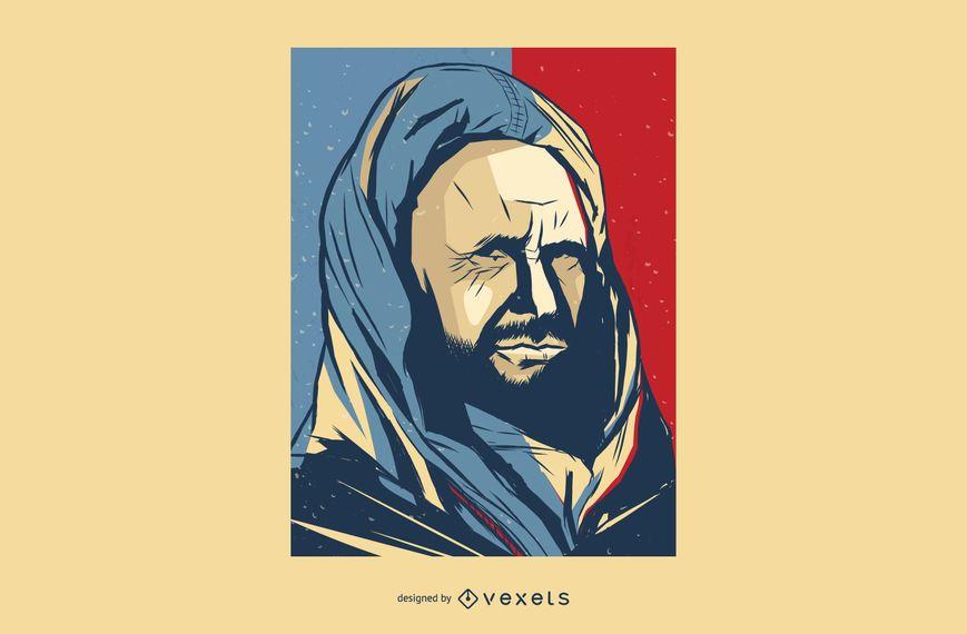 Bald Man in Robe Vector Illustration