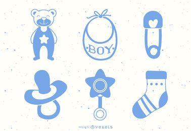 Conjunto de vetores de elementos de bebê menino