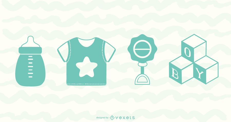 Baby Boy Playful Element Vector Pack