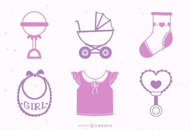 Pacote de elementos de design de bebê menina