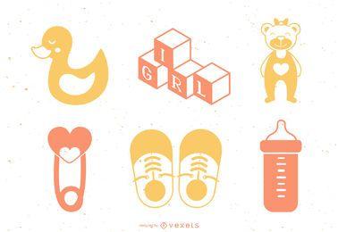 Pacote de design de elemento de bebê menina