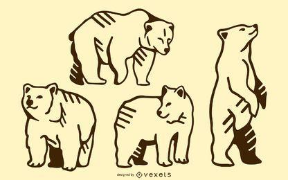 Urso doodle conjunto