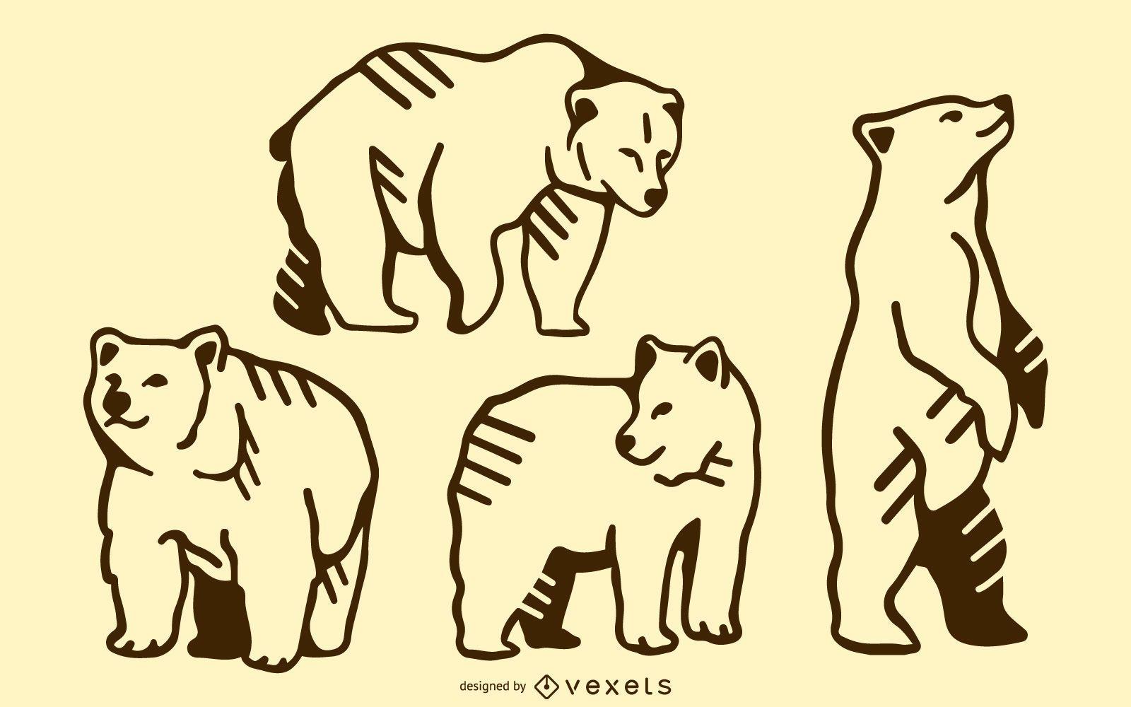Bear doodle set