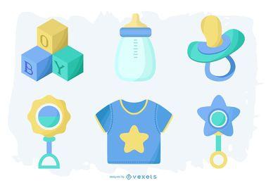 Pacote de elementos de bebê menino
