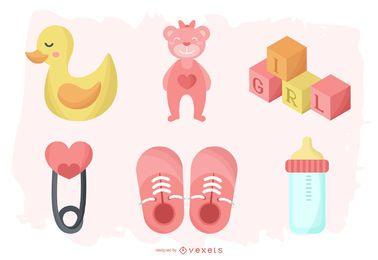 Pacote de elementos de bebê menina