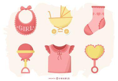 Lindo paquete de elementos de niña