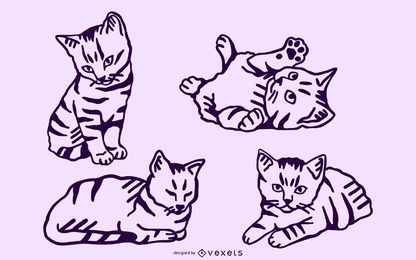 Conjunto de trazos de gatito