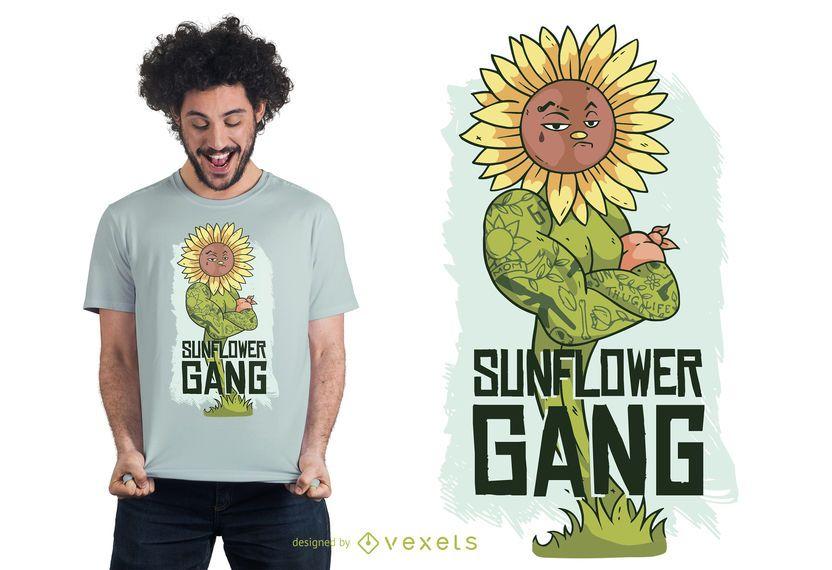 Diseño de la camiseta de las letras del girasol del gamberro