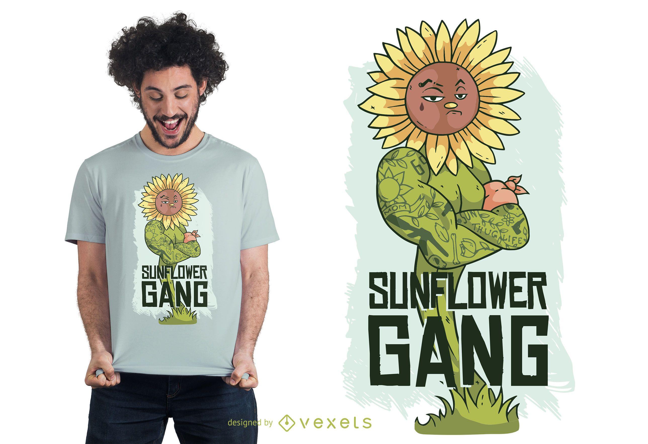 Diseño de camiseta Thug Sunflower Lettering