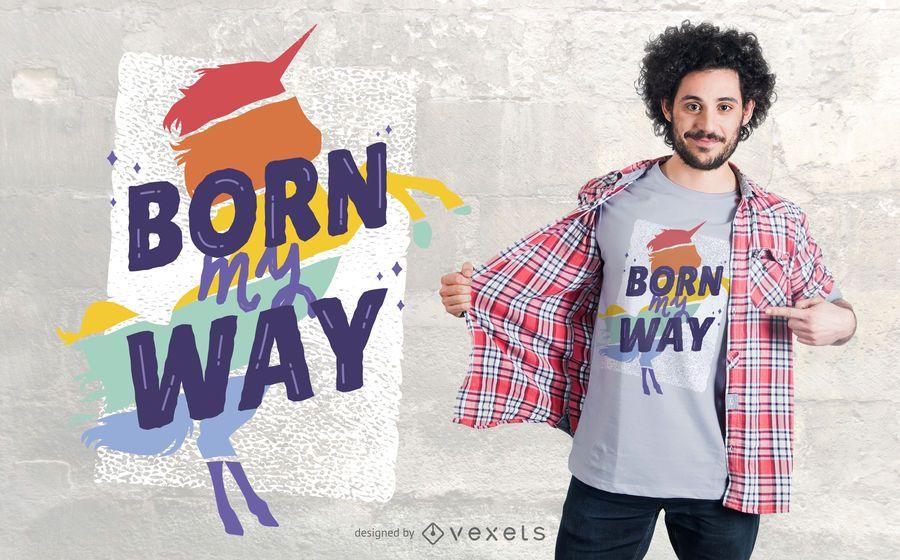 Projeto do t-shirt do unicórnio de LGBTI