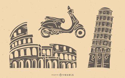 Conjunto detallado de silueta de elementos de Italia