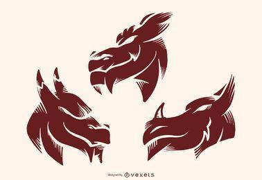 Conjunto de vetores de desenho de tatuagem de silhueta de dragão