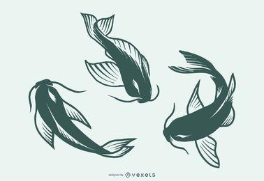 Coleção de design de tatuagem de silhueta de peixe