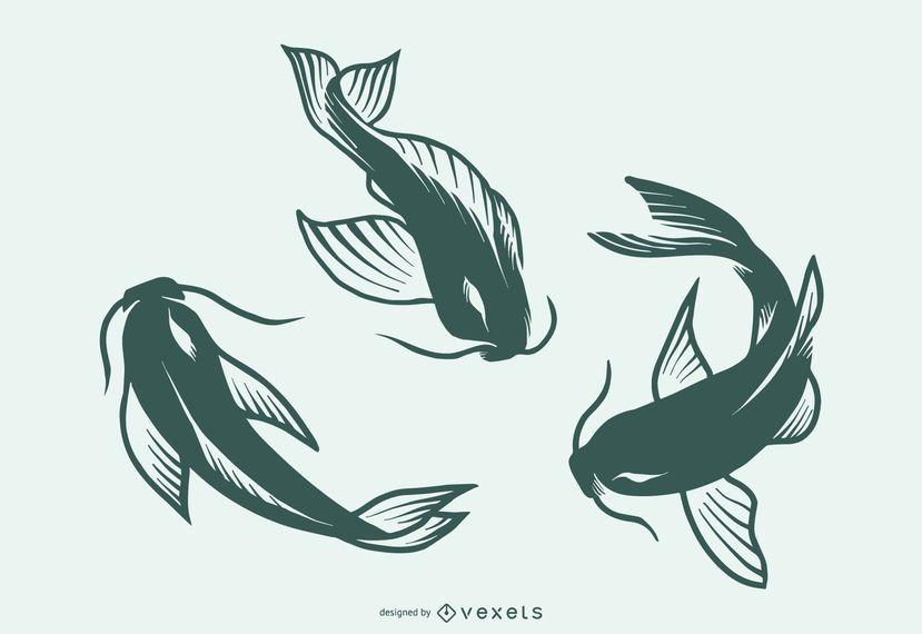 Colección de diseño de tatuaje de silueta de pez
