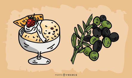 Italienischer Nahrungsmittelillustrations-Vektor-Satz