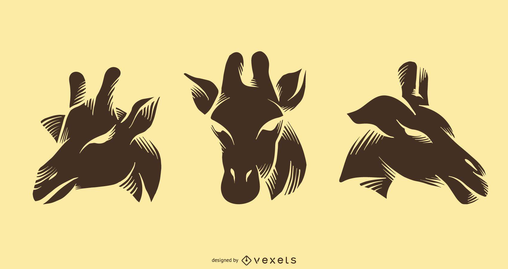 Colección de diseños de tatuajes de silueta de jirafa