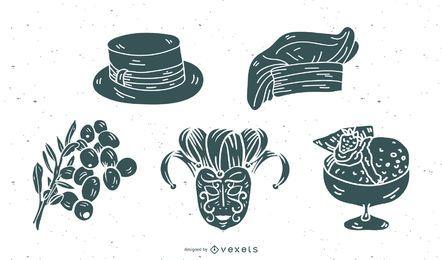 Pacote de vetores de silhueta de elementos de cultura italiana