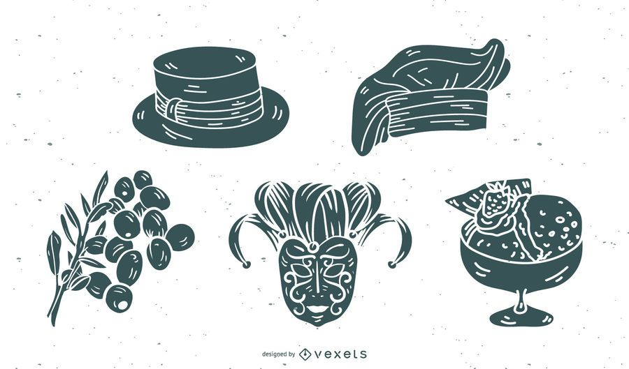 Italy Culture Element Silhouette Vector Pack