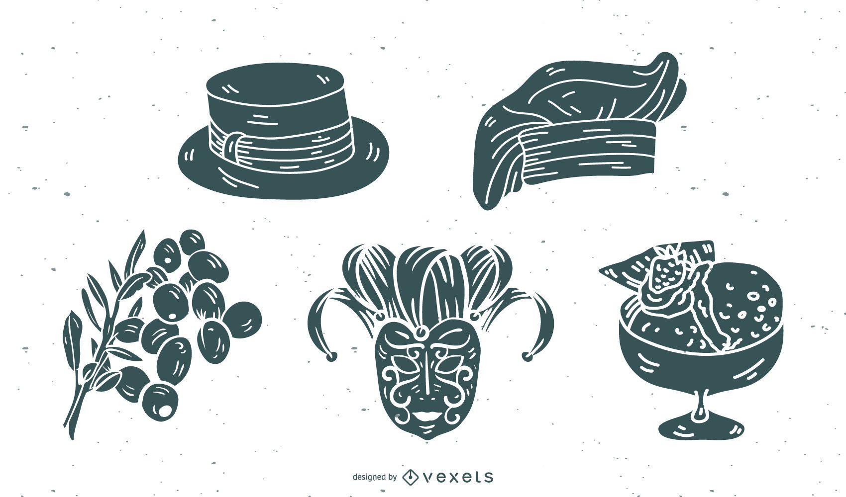 Paquete de vectores de silueta de elemento de cultura de Italia