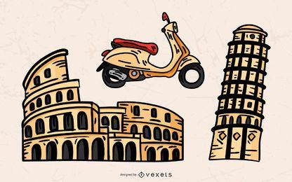 Conjunto de vectores de elementos de turismo de Italia