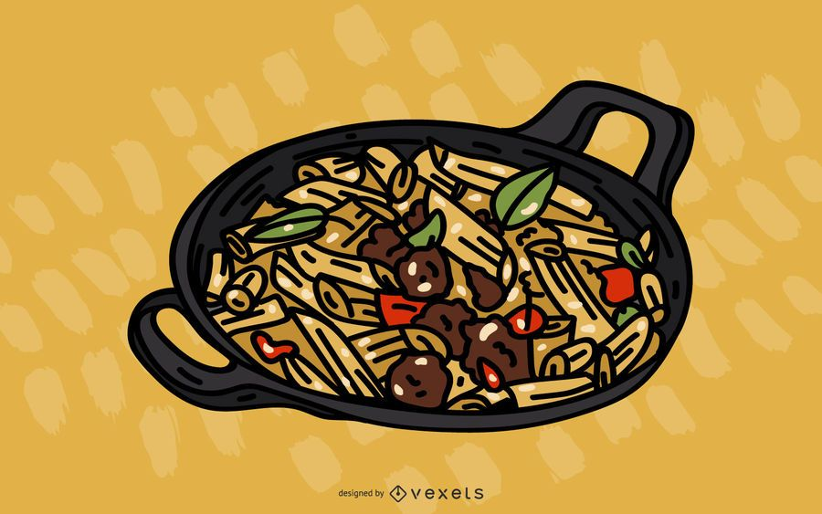 Ilustração em vetor de refeição de macarrão