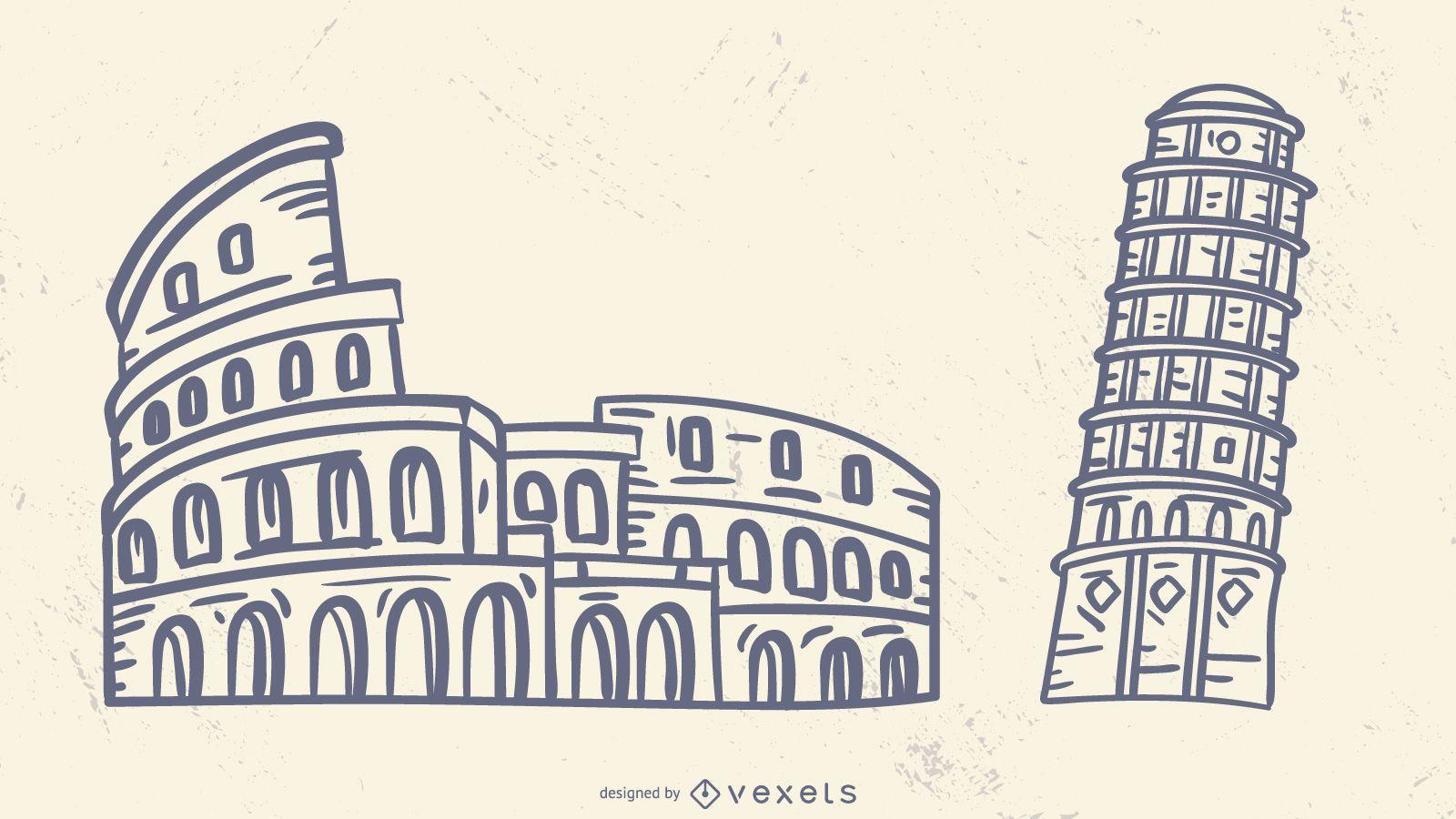 Conjunto de trazos de monumentos famosos italianos