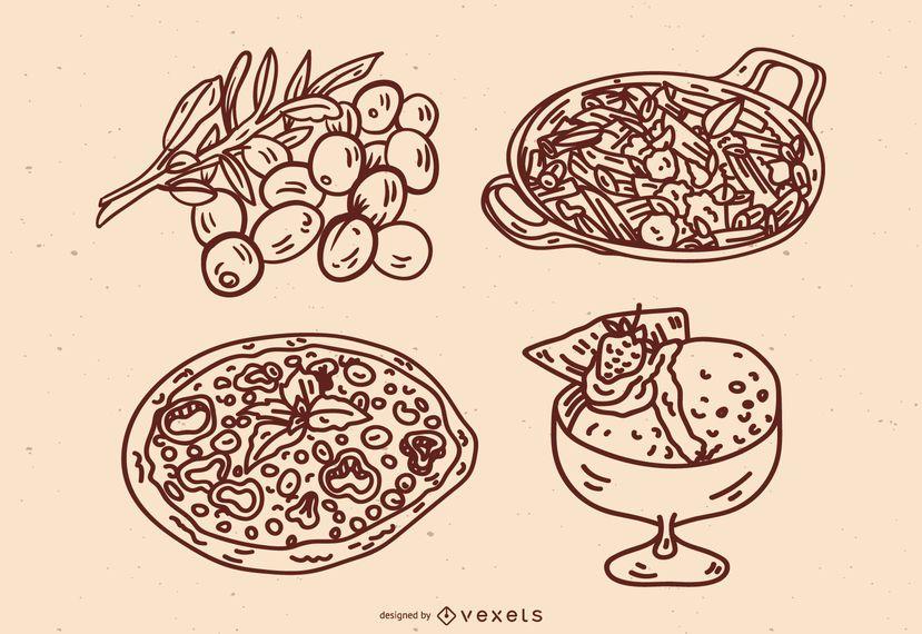 Conjunto de traços de culinária italiana