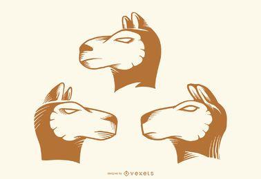 Lama-Kopf-Tätowierungs-Vektor-Satz