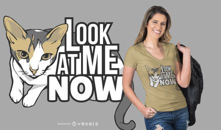 Olhe o design do t-shirt do meow