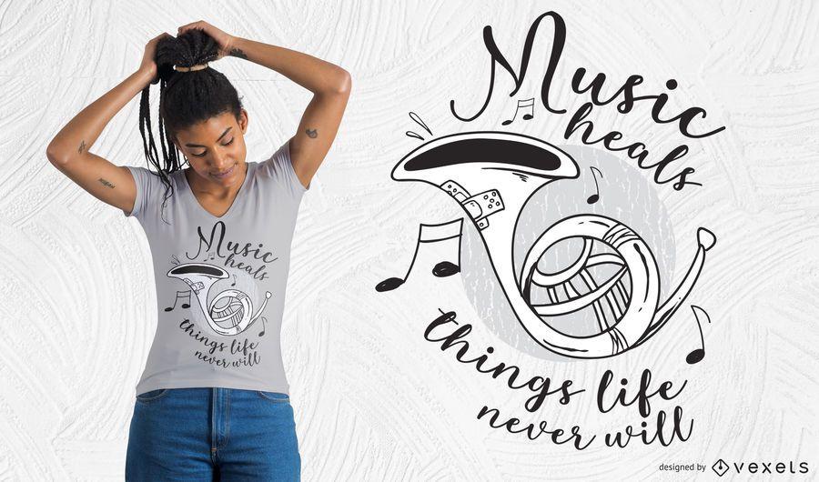La música cura el diseño de la camiseta.