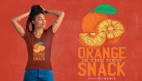 Diseño de camiseta naranja snack