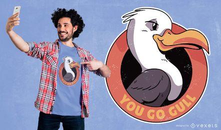 Você vai o design do t-shirt da gaivota