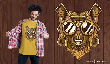 Diseño de camiseta de lobo Steampunk