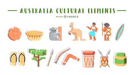 Colección de elementos culturales de Australia.